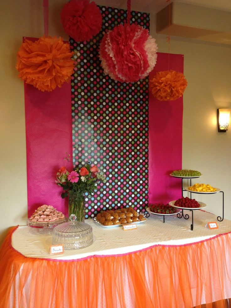 Pink  Orange Baby Shower Ideas