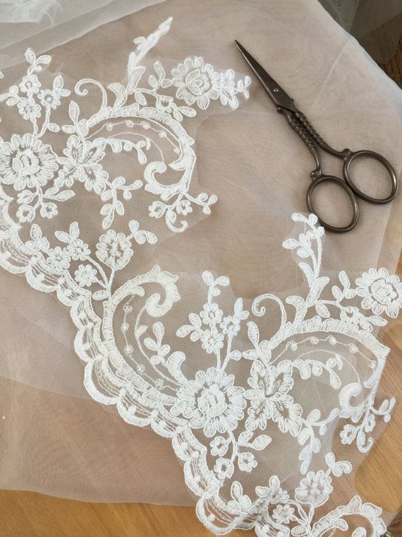 Cotton Alencon Lace Trim in Ivory for Bridal Veils by lacetime