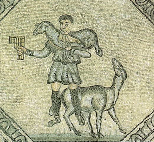 Ancient mosaic in the the Patriarchal Basilica of Aquileia, Udine, Italy.