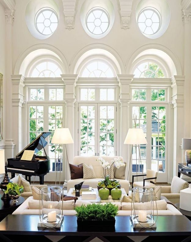 Found this gem on a 'how to get the French Provincial look' blog by Ferrari Interiors. This image is a definite winner for me as it ties in a modern take on French Provincial with a black baby grand :)|Elegant Doors & Windows