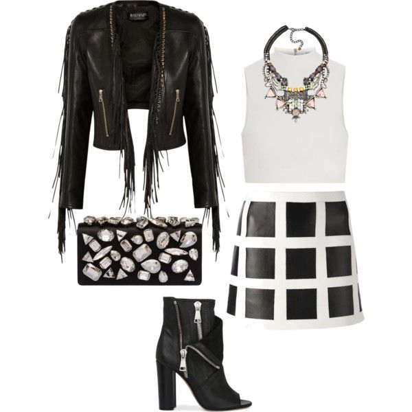 A fashion look from February 2015 featuring Elizabeth and James tops, Balmain jackets and Dsquared2 mini skirts. Browse and shop related looks.