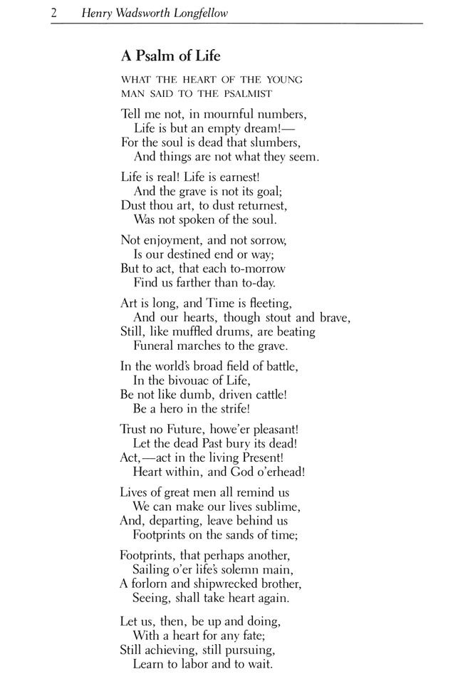 Longfellow Poem, A Psalm of Life