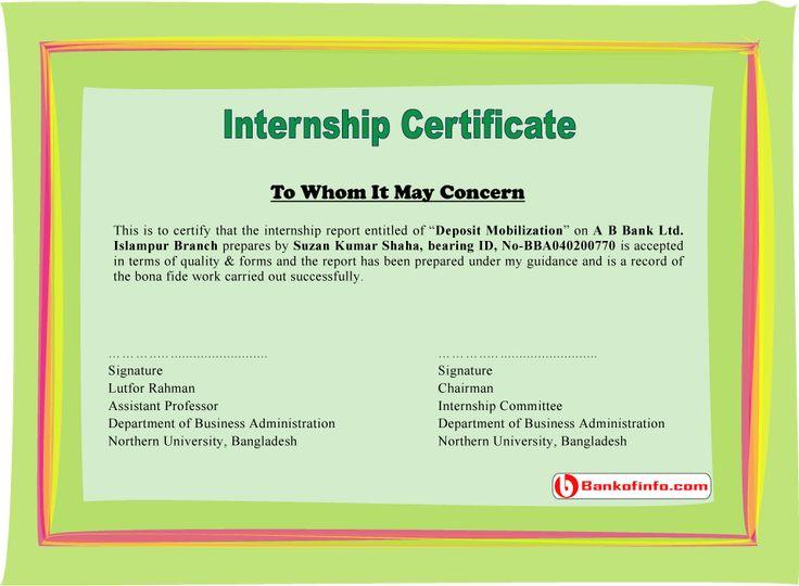 25+ unique Certificate format ideas on Pinterest Certificate - sample internship report template