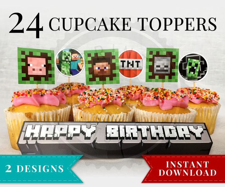 Printable Minecraft Cupcake Toppers perfect for your Minecraft Birthday Party! 24 Minecraft Cupcake Toppers that include Steve, Creeper, Enderman and more!