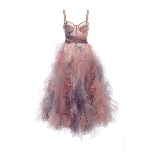 Marchesa     Ruffled Cocktail Dress (£3,850) ❤ liked on Polyvore featuring dresses, purple, purple dress, purple corset, purple tulle dress, corset dress and flutter-sleeve dress