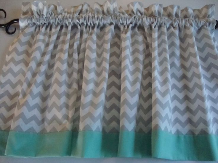 Gray and White Chevron Valance with Mint Border or choose own color of border #CustomMade #Nursery