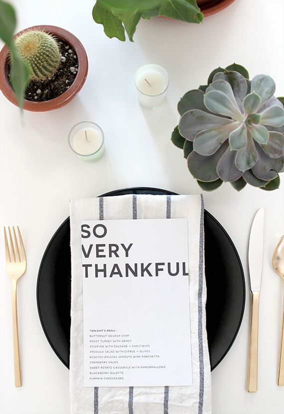 modern Thanksgiving tablesetting with succulents