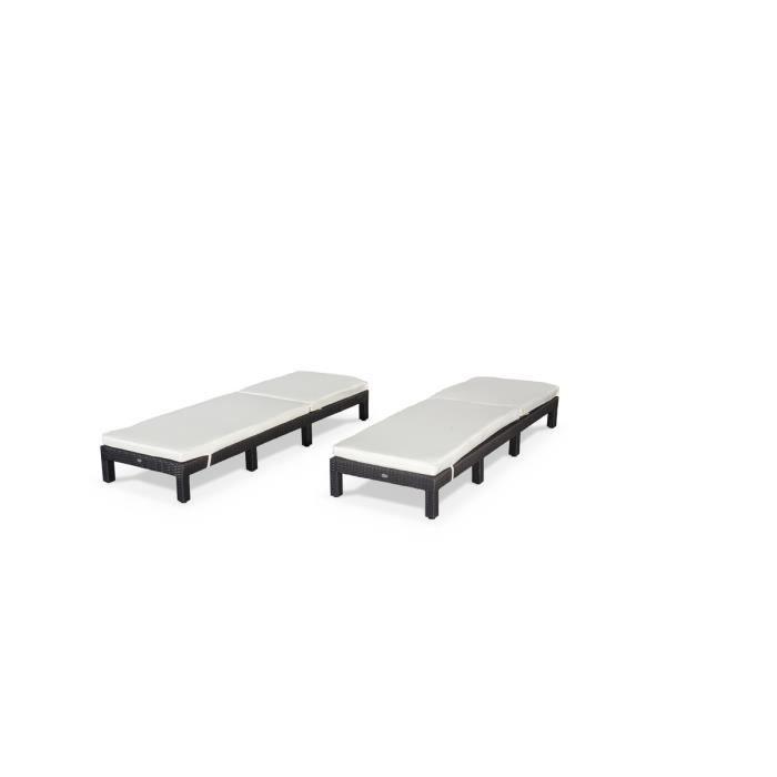 ensemble de 2 bains de soleil en résine tressée… - Achat / Vente chaise longue - transat Pisa x2 Noir - Soldes* d'été Cdiscount