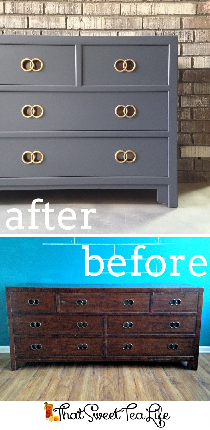 Benjamin Moore Hale Navy Dresser Makeover by That Sweet Tea Life - Painted Dresser Ideas | How to Paint Furniture | Furniture Painting Tips | Navy Furniture