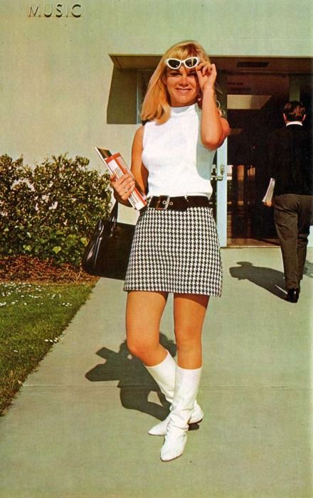 1967 --belted Hiphugger skirts and Poorboy sweaters. My sweater was store-bought & my mom made an exact copy of the Hiphugger skirt for me.
