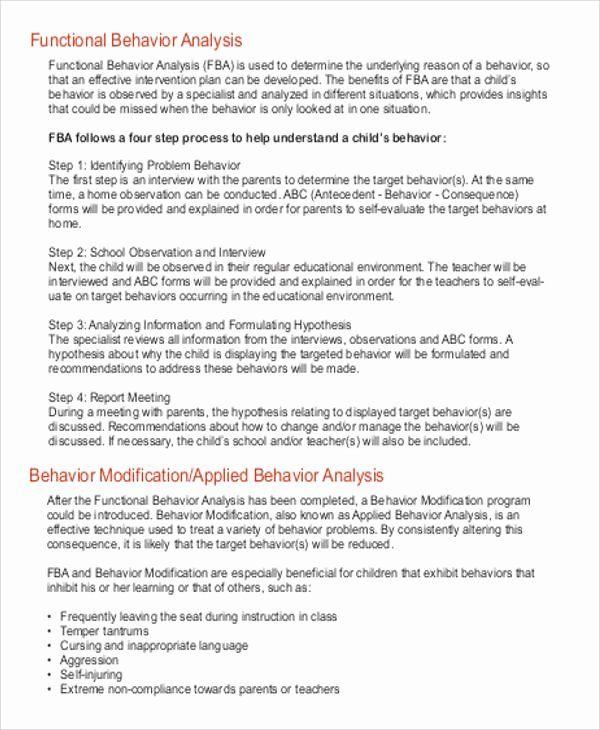 Sample Behavior Plan Beautiful 7 Behavior Analysis Samples Pdf