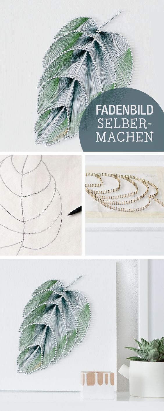 DIY-Anleitung für ein Fadenbild im Botanik-Stil, Wanddeko selbermachen, einrichten / crafting inspiration: picture made of strings, botanic, home decor via DaWanda.com