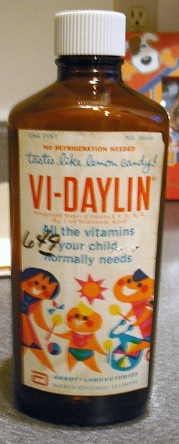 """Vi-Daylin Liquid Kids Vitamins in the 50's """"tastes like lemon candy"""" I also loved the art work on the label."""