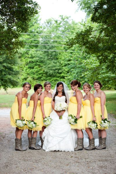 Country wedding!! Yellow bridesmaid dresses & boots