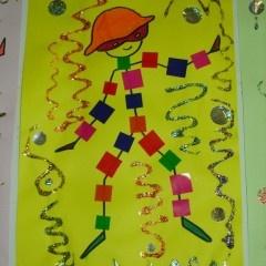 arlequin  - lesptitsbricoleurs papiers collés et crayons gel pailleté