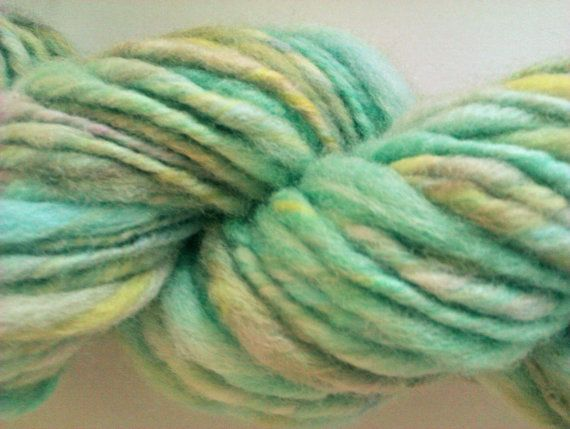 Aqua lime and lemon chunky spun. Hand spun hand by misterstiltskin