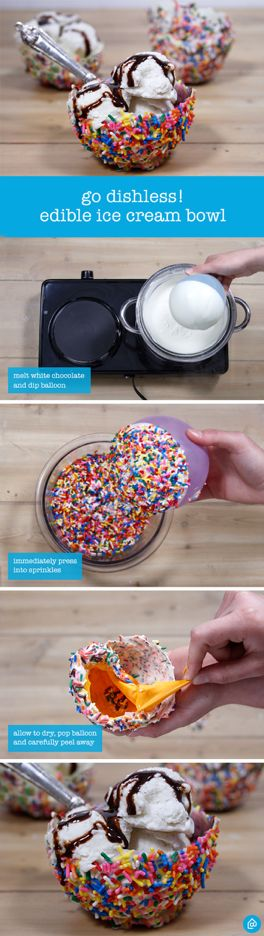 This summer, enjoy ice cream in a yummy, edible bowl! With just a few ingredients and steps you can recreate these bowls for your upcoming gathering with friends or family. Follow these simple steps: 1. Blow up balloon 2. Melt white chocolate and dip top half of balloon 3. Press balloon into bowl of sprinkles 4. Let dry on wax paper, pop balloon and carefully peel away 5. Scoop some ice cream into bowl and enjoy!