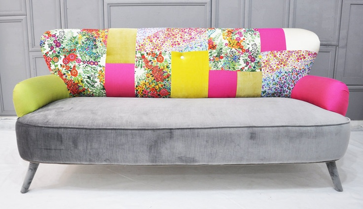 floral neon patchwork sofa • designed by Name Design Studio (interior architect Jo Supara and Ali Tarakci) • custom-made