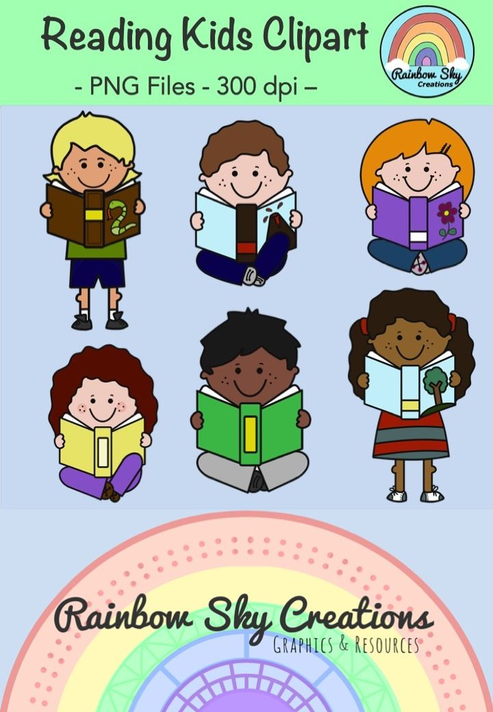 Reading Kids Clipart - Free Download. Personal and Commercial Use. PNG files, 300 dpi for clear, crisp printing. Transparent backgrounds. ~ Rainbow Sky Creations ~