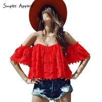 Simplee Vestuário Elegante oco out lace crochet parte superior do tubo branco Fora do ombro praia verão mulheres encabeça blusas blusa Strapless vermelho