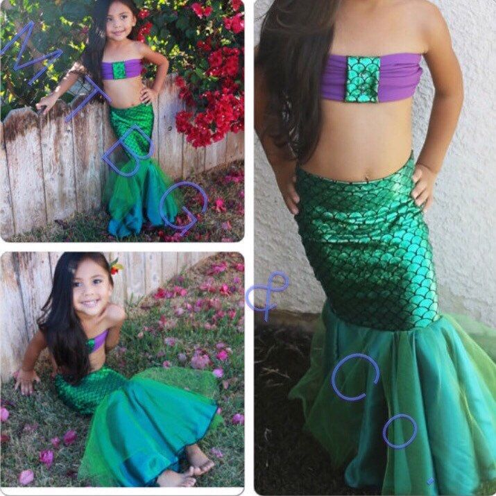 LITTLE MERMAID- Full Mermaid Tail/Birthday Mermaid Costume/ Little Girl Mermaid Costume/ Toddler mermaid Tail with bottoms by MTBGBOUTIQUE on Etsy https://www.etsy.com/sg-en/listing/176956178/little-mermaid-full-mermaid-tailbirthday