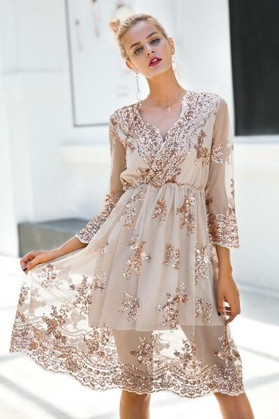 Simplee V neck long sleeve sequence dress