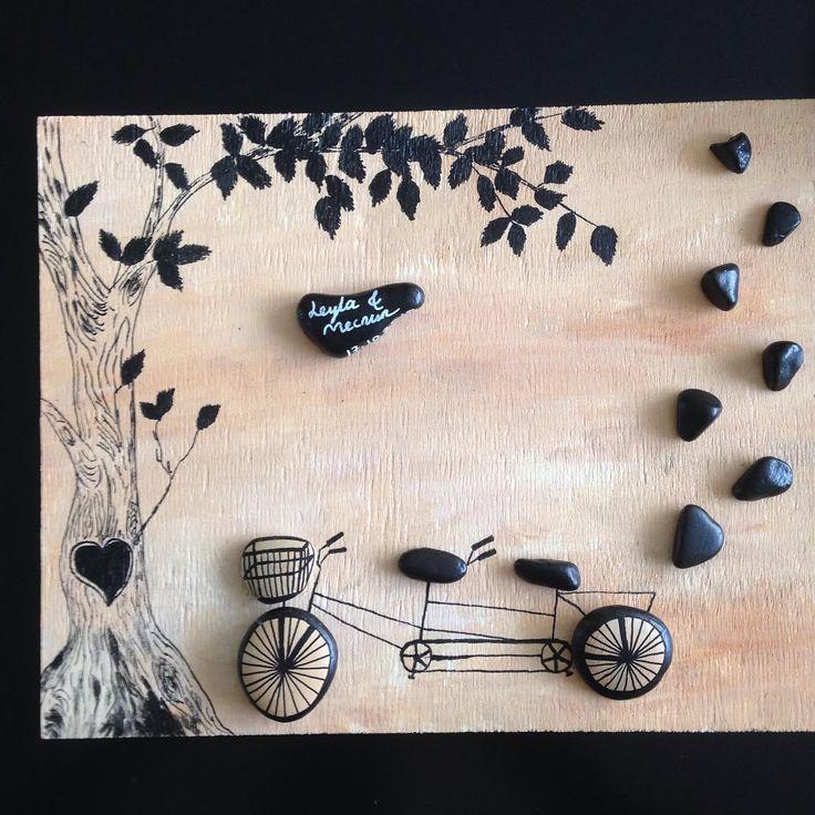 """""""#pebbleart #hediyelik #gift #çakıltaşı #personalized #tandem #bike #tree"""""""
