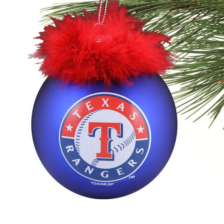 Texas Rangers Glass Ball Ornament with Marabou - Royal Blue