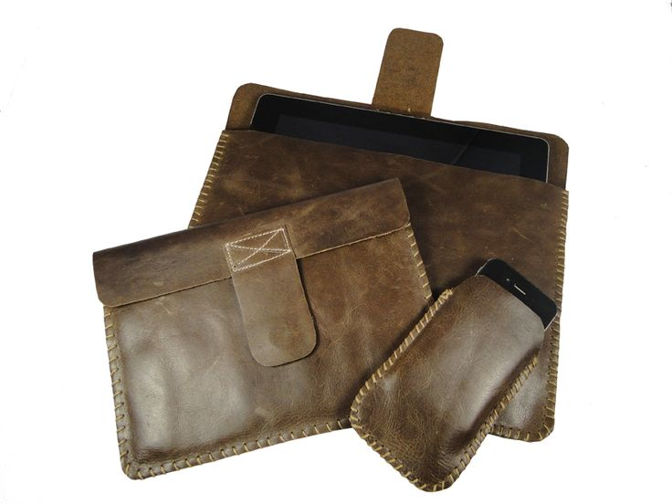 Hand Sewn Brown Leather Apple gadget accessories