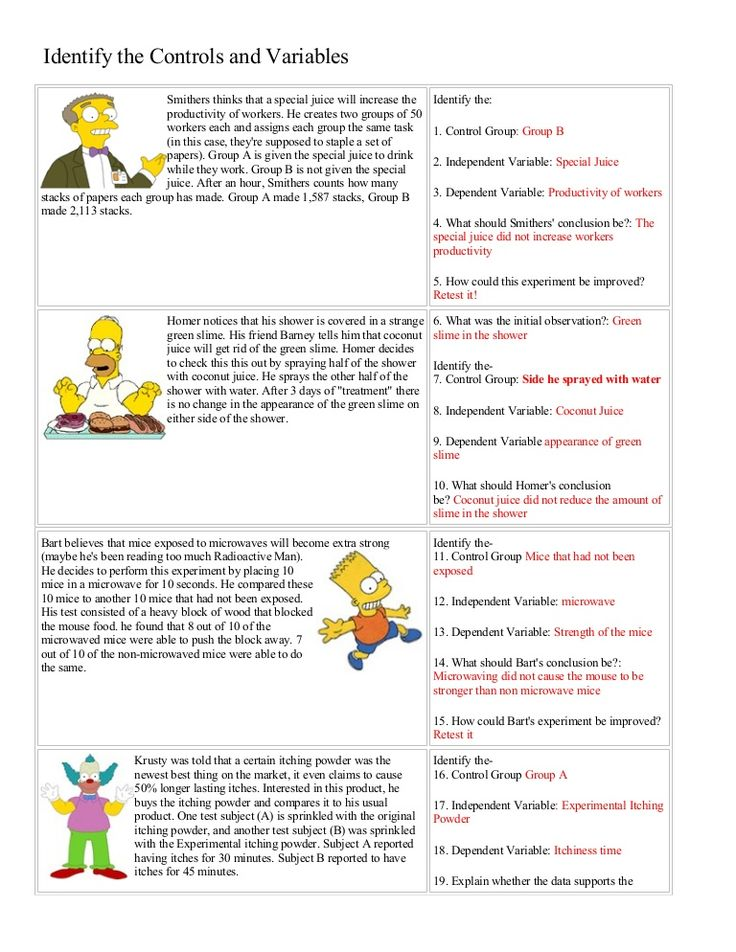 Bart Simpson Controls And Variables With Answers Science