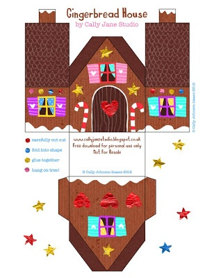 Paper Gingerbread house 6 Template free download