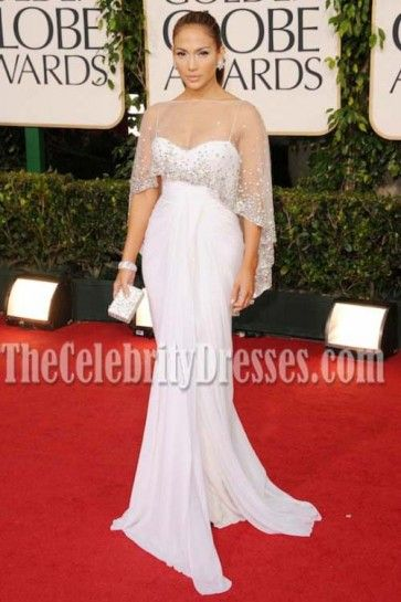 7dc0a125e77a Jennifer Lopez 2011 Golden Globe Awards White Formal Dress | J Lo ...