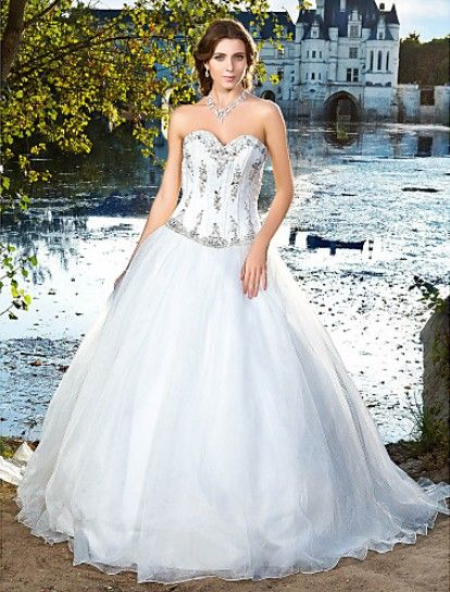 Elegant Ball Gown Sweetheart Satin And Organza #Wedding Dress WBG08666-LT