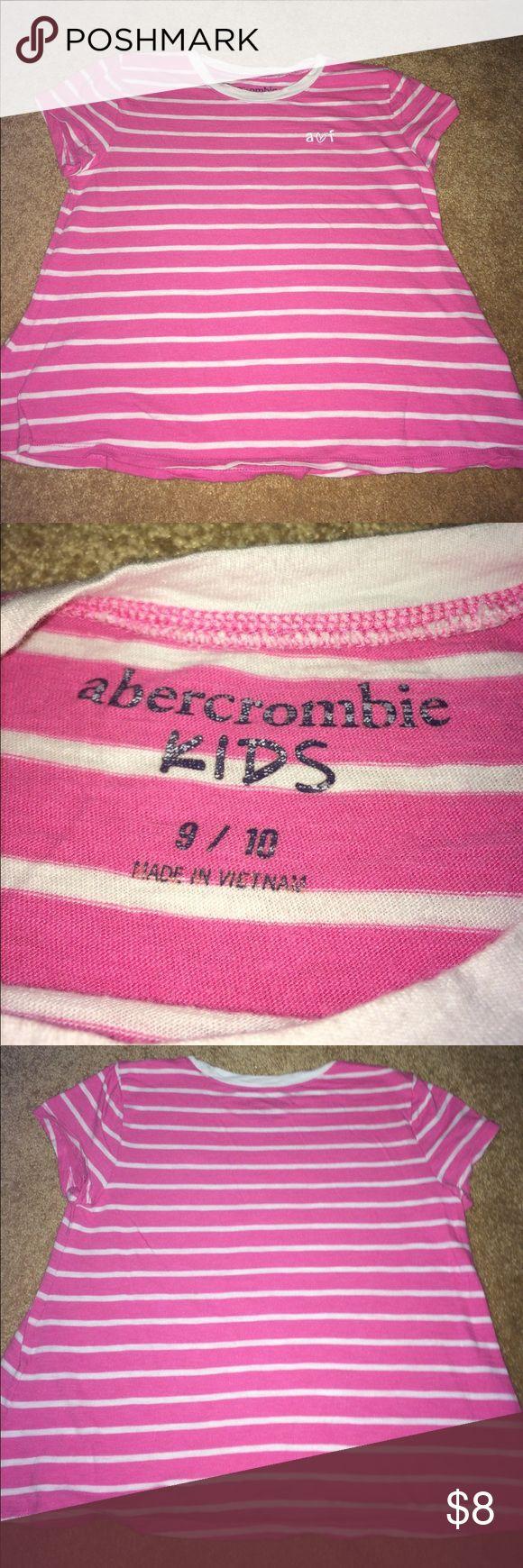 Pink striped Abercrombie girls shirt Size: 9/10 Abercombie Kids Shirts & Tops Tees - Short Sleeve