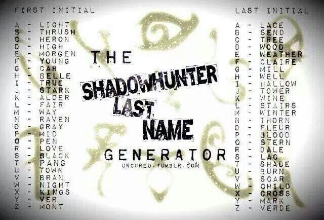 Shadowhunter Last Name Generator.