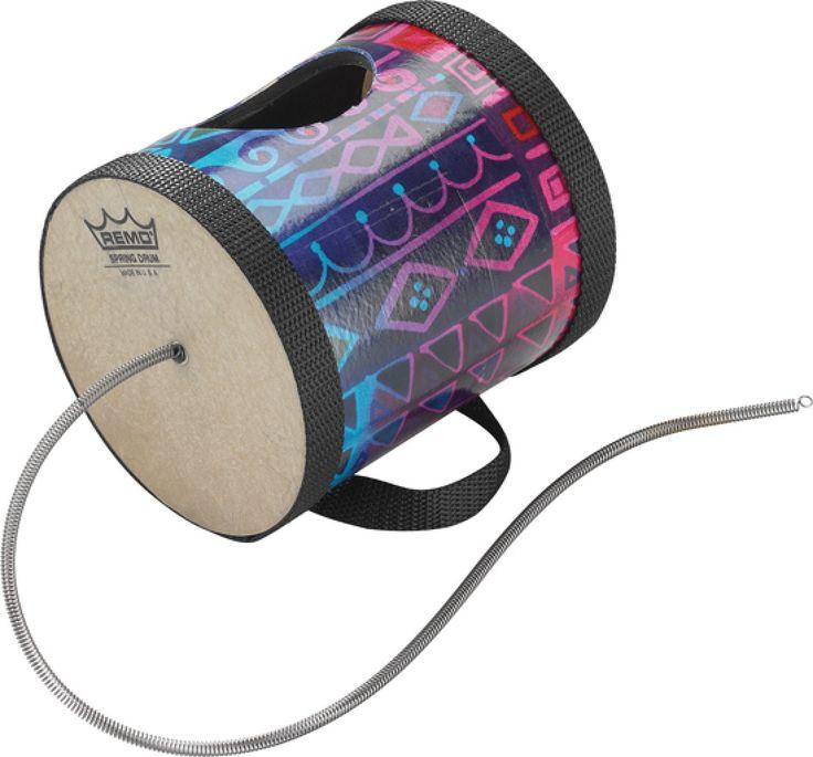 SPRING DRUM : Se llama Tambor Tormenta, y como su nombre lo dice, imita al sonido de vientos y truenos. Está construído con una calabaza ahuecada en la base donde se coloca un parche tensado.También se realiza un agujero en un lateral de la calabaza, por donde saldrá el sonido. Al mover la calabaza, se genera el sonido de viento, (por vibración del resorte) y al golpear simula al sonido de un trueno.