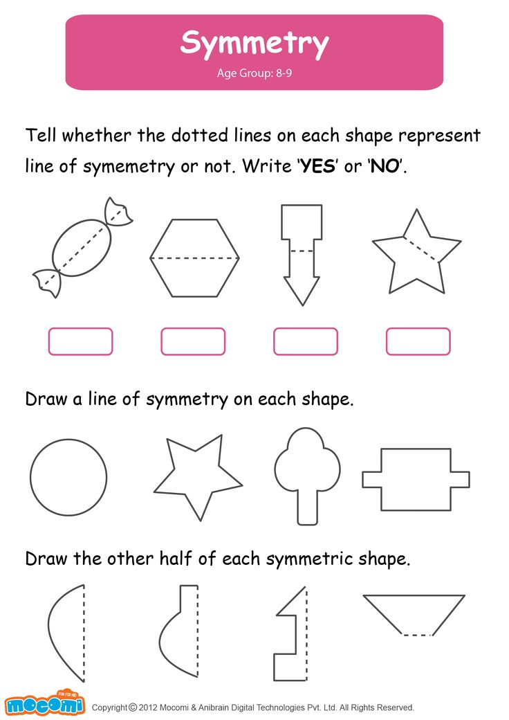Symmetry - Math Worksheet for Kids. For more interesting maths worksheets and activities for kids, visit: http://mocomi.com/learn/maths/