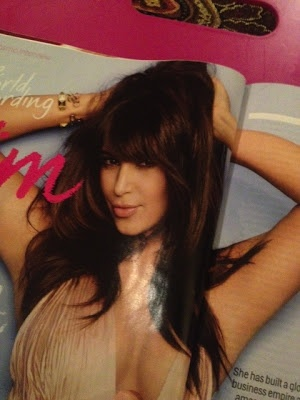 April 2013 Cosmopolitan Pic of Kim Kardashian love the color & layers... havent decided about the bangs!
