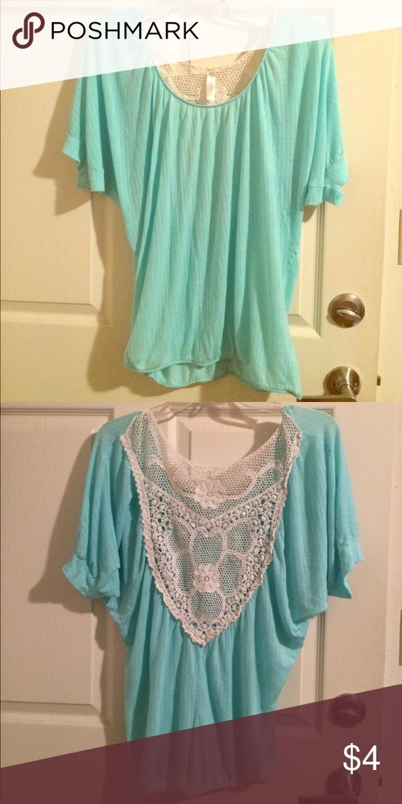 Ms Bella D baby blue batwing top Baby blue batwing top with lace on back, in Size Large Ms Bella D Tops Blouses