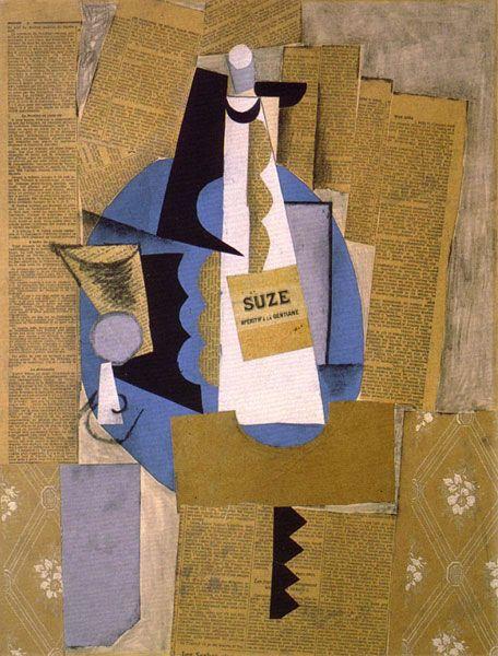 """Le cubisme - Pablo Picasso - Verre et bouteille de Suze (1912). """"Vraie"""" étiquette. Joue le rôle de l'image. Dit la bouteille qui n'est elle qu'évoquee. Braque disait """" les papiers collés, le faux bois [...] s'imposent par la simplicité des faits et c'est ce qui les a fait confondre avec le trompe l'oeil dont ils sont précisément le contraire. """""""
