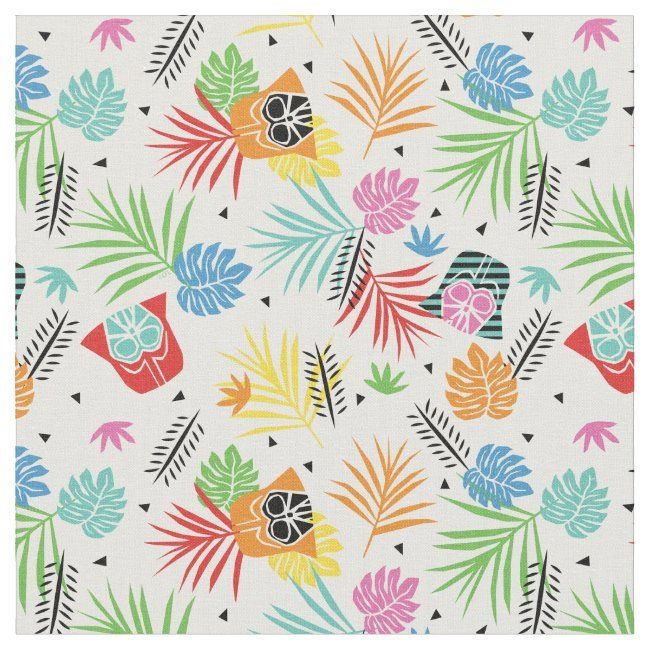 Colorful Darth Vader Tropical Floral Pattern Fabric In 2020 Tropical Floral Pattern Fabric Patterns Tropical Floral