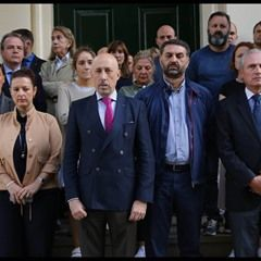Staff at Spanish Embassy in London observe a minute's silence after Barcelona attack