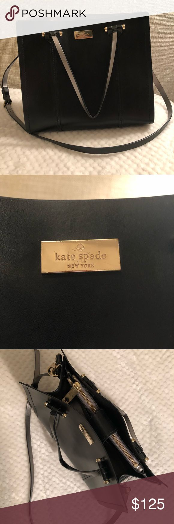 """Kate Spade Black Leather Purse Long strap measures 20"""" from shoulder to the top of the bag. Shorter straps are about 7"""" long. Bag itself measures 11"""" x 9"""" x 5""""  Features gold Kate Spade logo and gold details. Bottom of the bag has 4 round, gold feet. The short handles swivel up and down. The long handles are on spinning hardware.  Only been used once or twice - leather is in excellent condition. A few minor scratches on the metal, but overall the bag looks like new ✨ kate spade Bags Shoulder…"""