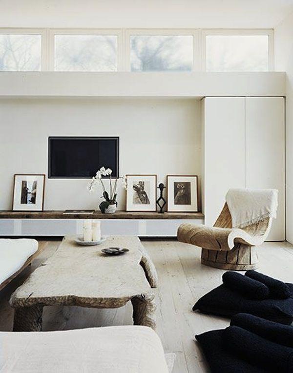 Black, White And Wood Rooms. Tv WallsTvsLiving SpacesLiving ...