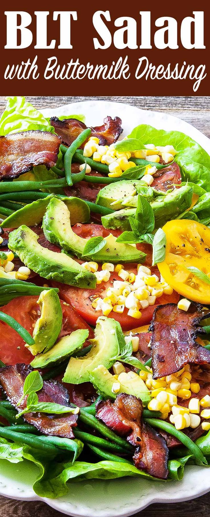 BLT Salad for dinner tonight! Ripe summer tomatoes and crispy bacon make this salad a show stopper.