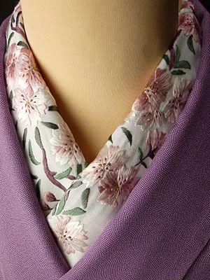 桜 手刺繍半衿