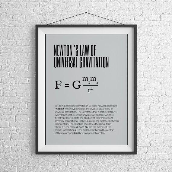 Newton Printable Wall Art Instant Download Home Decor Physics Printable Art Digital Download Class Poster Class Poster Science Poster Printable Wall Art
