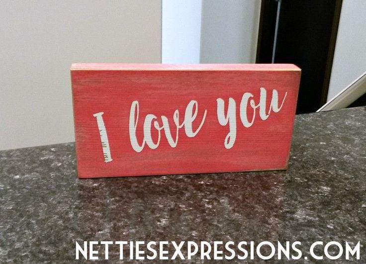 I love You 3.5x7 Pink Wood Sign - Netties Expressions