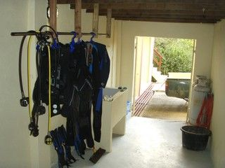 Storage room for diving equipment and rinse tank.