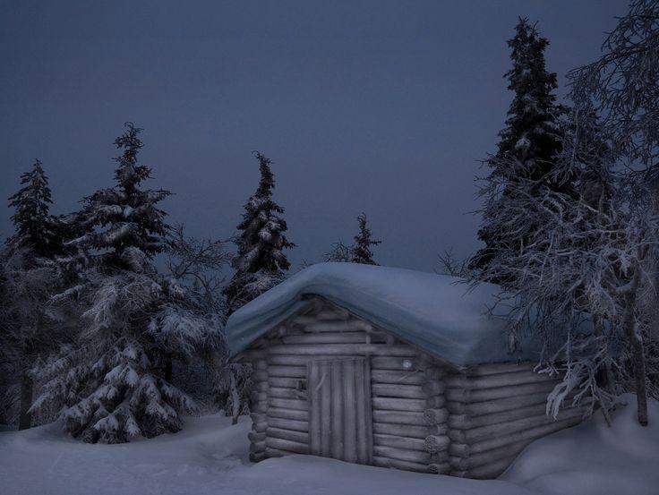 Избушка Утренние сумерки у подножия горы Валтаварра.  Рука, Финляндия — National Geographic Россия